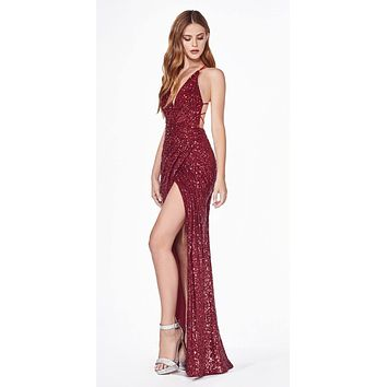 CLEARANCE - Burgundy Sequins Long Prom Dress Strappy-Back (Size 4)
