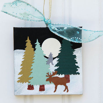 Christmas Tree Ornament, Full Moon Scene Collage on Canvas, Snowy Landscape with Moose and Wolf, Winter Forest, Original Mixed Media Art