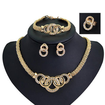 Jewelry Sets African Beads Collar Statement Necklace Earrings Bracelet Fine Rings For Women CZ Diamond Vintage Party Accessories SM6