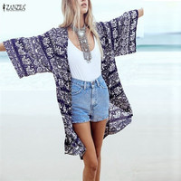 S-XL Summer Style Fashion New Women Blouse Floral Printed 3/4 Sleeve Casual Long Beach Blusas Shirt Top Kimono Cagdigan