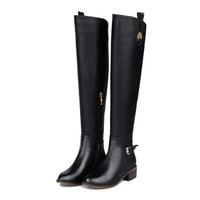 Genuine Leather Round Toe Over Knee High Boots Classical Buckle Style Knight Boot  Warm Shoes Size 33-43