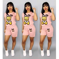 MOSCHINO Summer Popular Women Casual Short Sleeve Top Shorts Two-Piece Pink