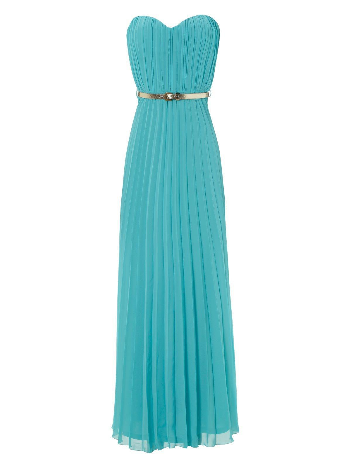 Turquoise Pleated Sweetheart Maxi Dress From Janenorman Co Uk