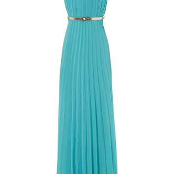 turquoise pleated sweetheart maxi dress