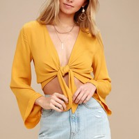 Weekend Wishes Mustard Yellow Tie-Front Long Sleeve Crop Top