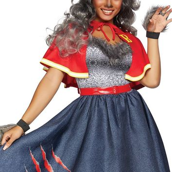 Howling At Night Red Navy Strapless Sweetheart Neck Faux Fur Trim Cape Flare A Line Midi Dress Halloween Costume