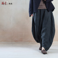 SERENELY Casual Pants 2016 Women Big Ruffle Loose Trousers Wide Leg Solid Linen Pants Bloomers Harem Pants Women Pantalones S65