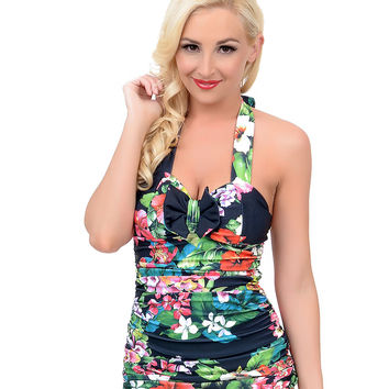 Sugar Doll Vintage 1950s Style Pin-Up Black & Tropical Floral Perla Halter Swimsuit