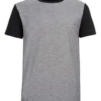 GREY WOVEN FRONT T-SHIRT