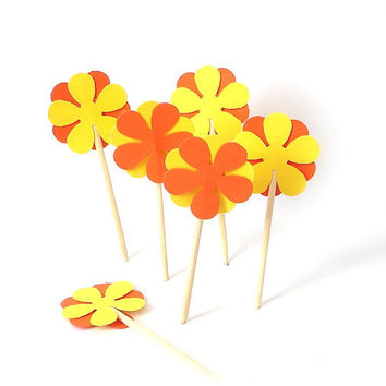 24 Decorative Orange Bright Yellow Retro Flower Party Picks, Cupcake Toppers, Toothpicks, Food Picks - No377
