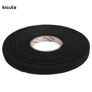 25mx9mmx0.3mm Anti-Wear Adhesive Cloth Fabric Tape Cable Looms Wiring Harness Black 25MX9MMX0.3MM Tapes