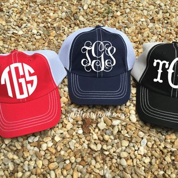 CLEARANCE Monogrammed Low Profile Unstructured Trucker Hat