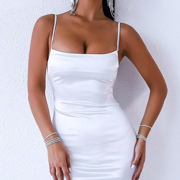 Cheat Sheer White Sleeveless Spaghetti Strap Low Cut Bodycon Mini Dress