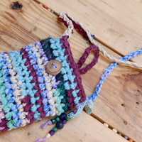 Unique Boho Gypsy Hand Crochetd Purse with Wooden Beads --- Tagt