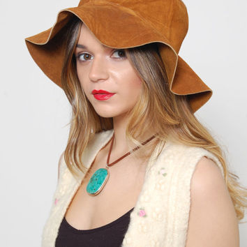 Vintage 70s FLOPPY Hat SUEDE Hippie Hat Leather Boho Hat Wide Brim Festival Hat