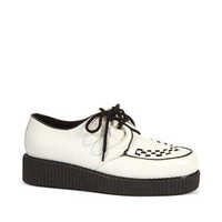 Cream Leather-Look Brothel Creepers