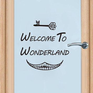 Alice in Wonderland door Sticker Art Decor Welcome To Alice in Wonderland Wall Decals girls Room Wall Door Decoration