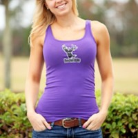 Distressed Tank - Purple with White Logo: Hunting Apparel | Hunting Clothes | Shirts | Stickers | Decals