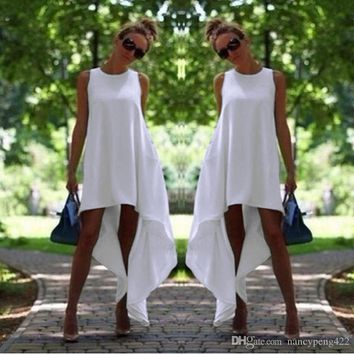 Women Summer Bohemian Dress White Irregular Beach-to-Bar Loose Dresses Loose Flare Tunic Female Sleeveless Beachwear Boho Gowns Tunics