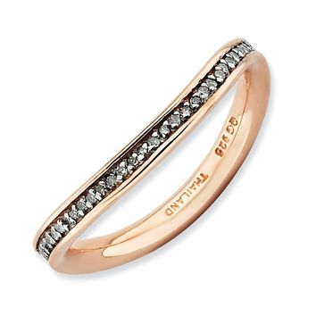 2.25mm 18K Rose Gold Plated Silver Stackable Diamond Curved Band