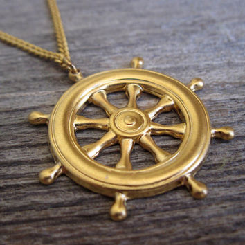 Men's Necklace - Gold Plated Ship Steering Pendant - Mens Jewelry - Sailor Jewelry - Nautical Jewelry - Gift For Him