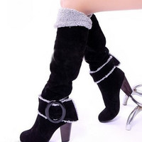 Snow Boots Big size 34-43 Square High Heels Knee High Winter Shoes for Women Sexy Warm Fur Buckle Fashion Boots = 1931793092