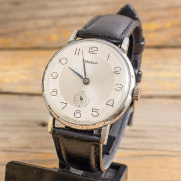 Vintage Pobeda watch, vintage soviet watch, ussr cccp mens watch