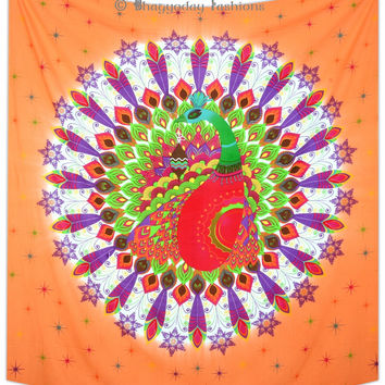 Peacock Feather Mandala Bedspread Hippie Indian Tapestry Gypsy Room Decor Throw