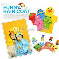 Children Clothes 2014 Retail Children's Animal Model Raincoat Kids Rain Coat Boy's Girls Rain cape Waterproof Coats.