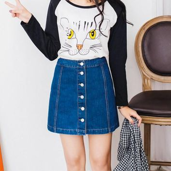 on sale Sexy Womens Vintage A-line Pencil Jeans Skirt Front Button High Waist Denim Skirt Female ladies falda jupe