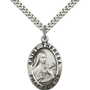"Saint Theresa Medal For Men - .925 Sterling Silver Necklace On 24"" Chain - 30... 617759550511"
