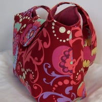 Large Tote in Amy Butler Paradise Garden in Wine by moxiebscloset