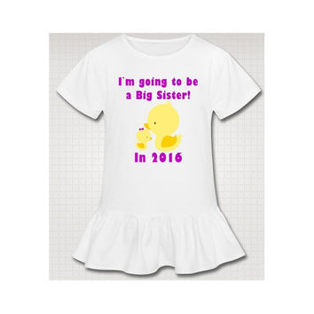 Big Sister Yellow Duckies New Baby Sibling Announcement Shirt - SS6030