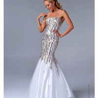 Nina Canacci 2014 Prom Dresses - White & Gold Sequin Mermaid Prom Gown