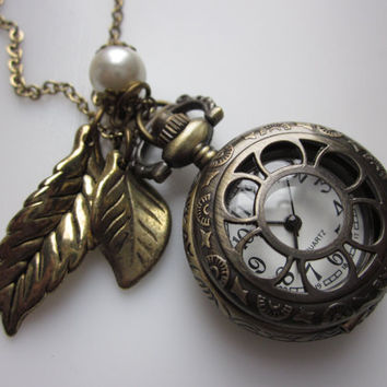 Flower Pocket Watch Necklace Accented with Fall Leaves and Pearl