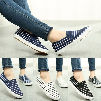 2015 New Stripe Canvas Shoes Women's Light Sweet Flat Girl Neon Sneakers  Lazy Foot Wrapping Platform Shoes = 1714290436