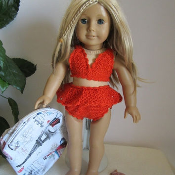 "ON SALE - 10% OFF Crochet bathing suit   for 18""  dolls and American girl dolls"