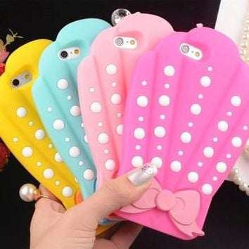 3D Sea Shell Bow Design Protective Silicon Shell Phone Cover