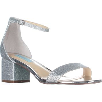 Blue Betsey Johnson Miri Ankle Strap Evening Sandals, Silver Glitter, 10 US