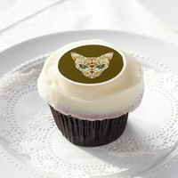 Day of the Dead, Sugar Skull Cat Edible Frosting Rounds