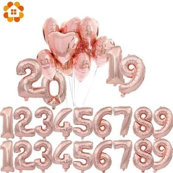 """1PC 3 Sizes 16""""/32""""/40"""" Rose Gold Number Balloon Figures Foil Float Air Inflatable Balls For Birthday Party Wedding Decoration"""