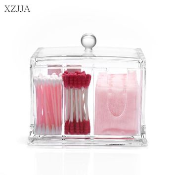 XZJJA Acrylic Makeup Organizers Cotton Pad Q-tip Storage Box Multifunction Bathroom Desktop Make Up Organizer Cotton Swabs Box