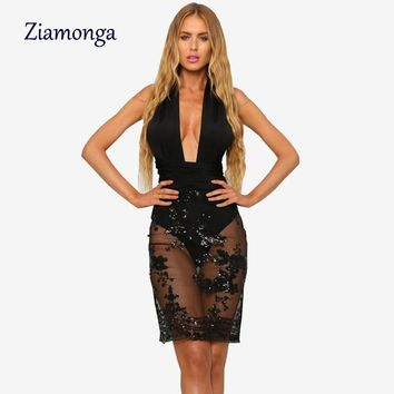 Ziamonga Black Sexy Night Club Party Dresses 2017 Hollow Out Sequin Mesh Bodycon Dress Ukraine Vestidos Summer Tunic Women Dress