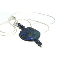 Lapis Lazuli necklace - Midnight blues, elegant dark blue pendant necklace