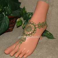 Olive Green Barefoot Sandals, Foot Jewelry, Tree of Life, Tribal Anklets, Nature Jewelry, Toe Ankle Bracelet, Ankle Wrap Sandal