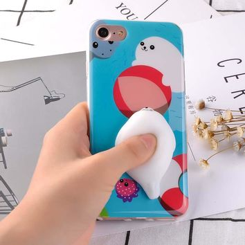 Phone Cases for iPhone 7 6 6S Plus Case 3D Cute Pressure Release Toy Shell Soft Pappy Squishy Seal Polar Bear Funda Animal Coque