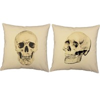 Victorian Skulls Throw Pillows