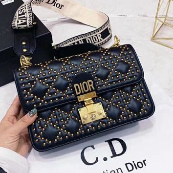 Kuyou Gb99822 Dior Messenger Bag In Smooth Leather With Studded Outline And Detachable Crossbody Strap 24x16x7cm