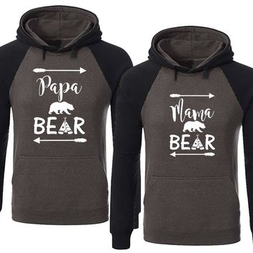 Bear Family Hoodie for Mama Bear & PAPA Bear Pullover Sweater-Charcoal Black-Price for 1