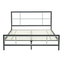 Full Size Modern Metal Platform Bed Fame With Wood Slats